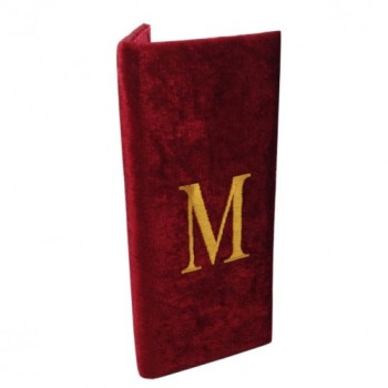 Red velvet folder with initial embroidery