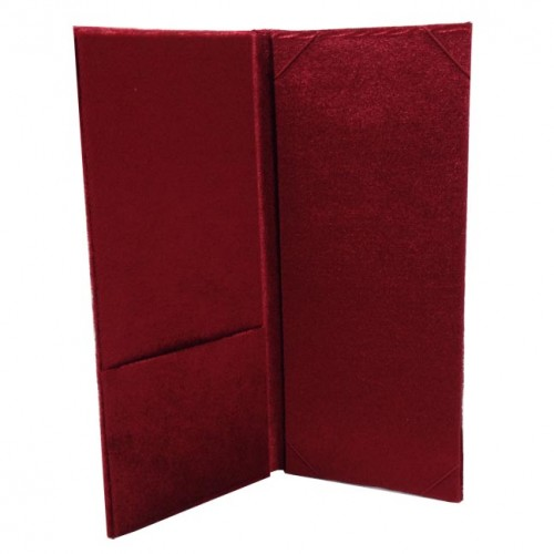Interior view of red velvet folder