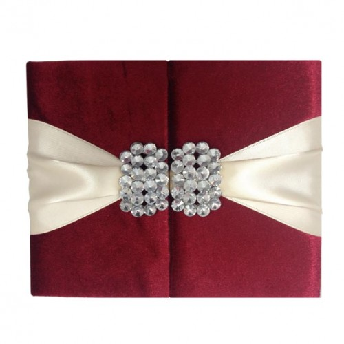 Red velvet couture invitation folder