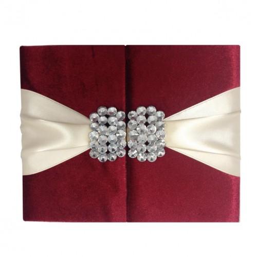 Red velvet couture invitation folder