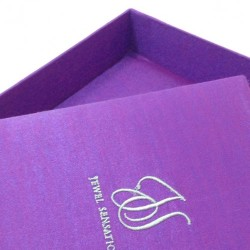 Custom embroidered violet silk invitation box for wedding favor, gifts or jewellery packaging