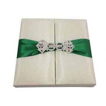 Crystal clasp embellished silk box