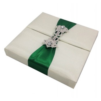 Green and ivory silk invitation boxes