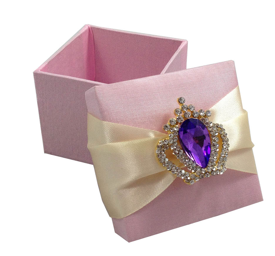 Blush Pink Favour Box & Purple Crown Brooch