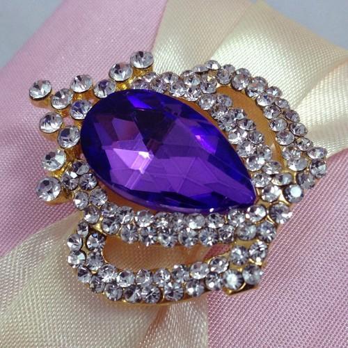 Purple rhinestone crown brooch