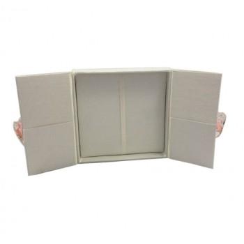 Ivory silk wedding invitation gatefold box