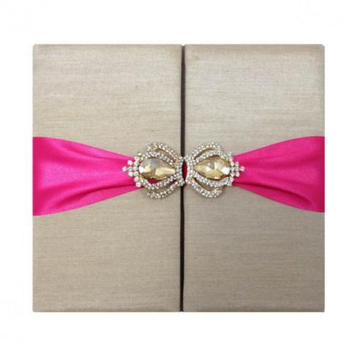 Wedding invitation folio featuring gold silk fuchsia ribbon and golden silk folio stopboris Gallery