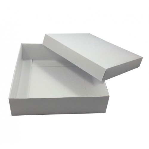 Opened lid of white mailing box