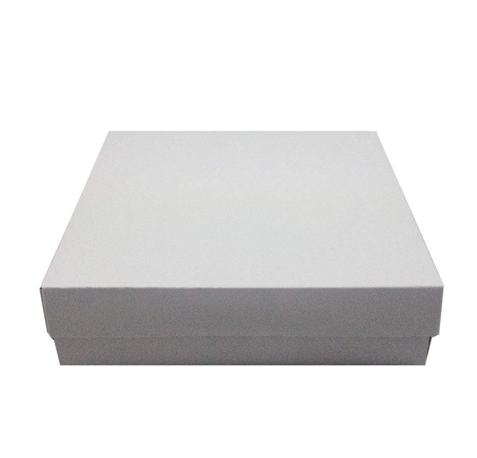 White cardboard mailing box and mailer for wedding invitations