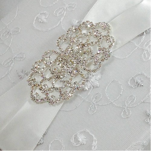 Close up of large rhinestone crystal clasp