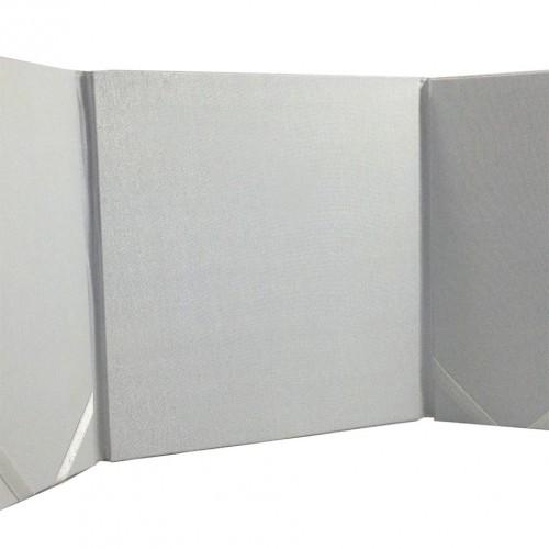 Opened white silk folder