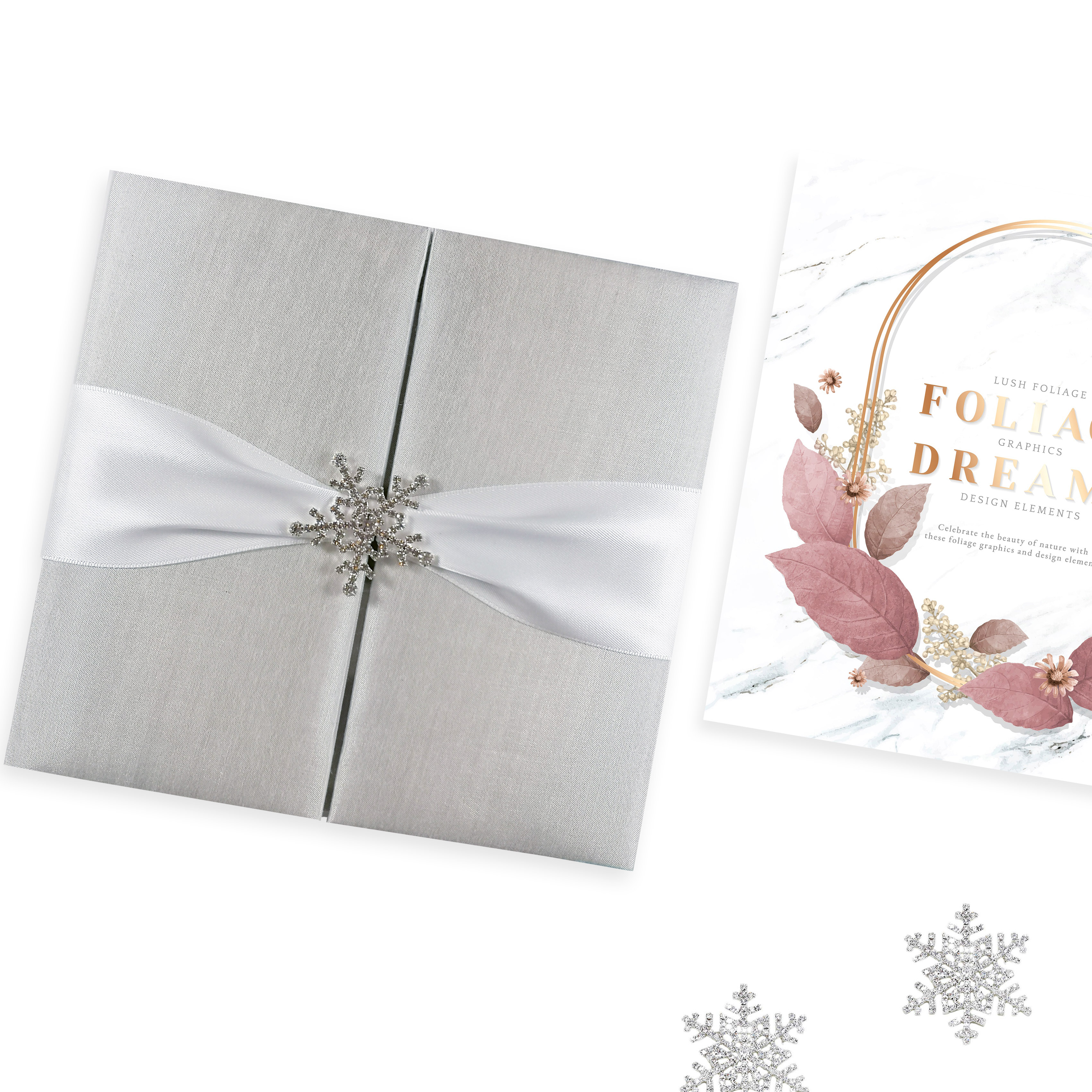 White winter wedding invitation folio