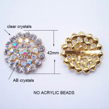 Gold Crystal Brooch Wedding Embellishment