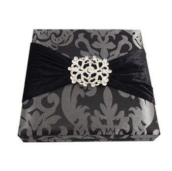 Luxurious silver and black brocade silk box
