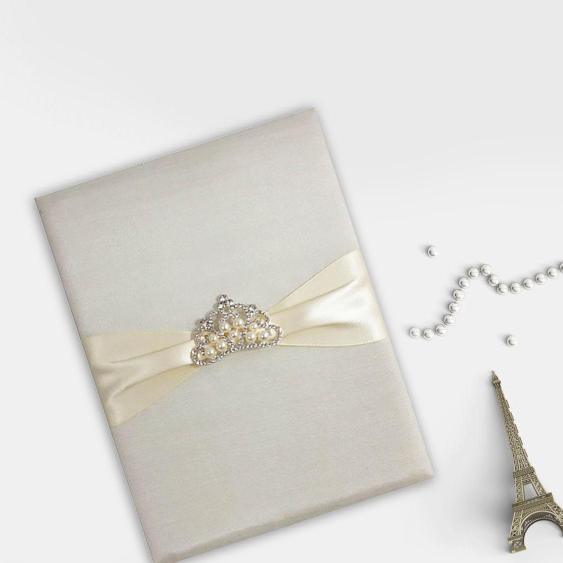 Luxury crown  brooch silk invitation