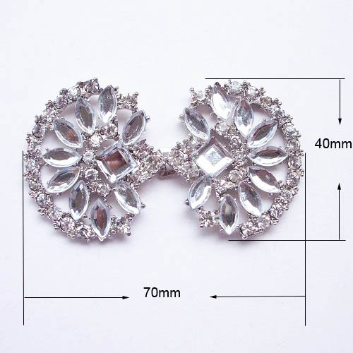 silver rhinestone interlock wedding embellishment