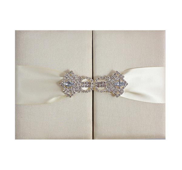 dupioni silk wedding silk folder with rhinestone clasp