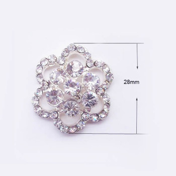 Silver Flower Crystal Brooch