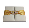 Ivory luxury gatefold silk invitation box