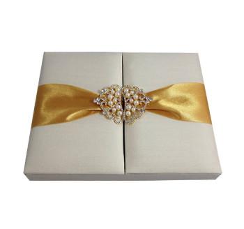 Ivory luxury gatefold silk invitation box