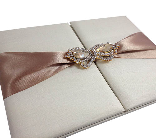 Cream Ivory Silk Folio Invitation