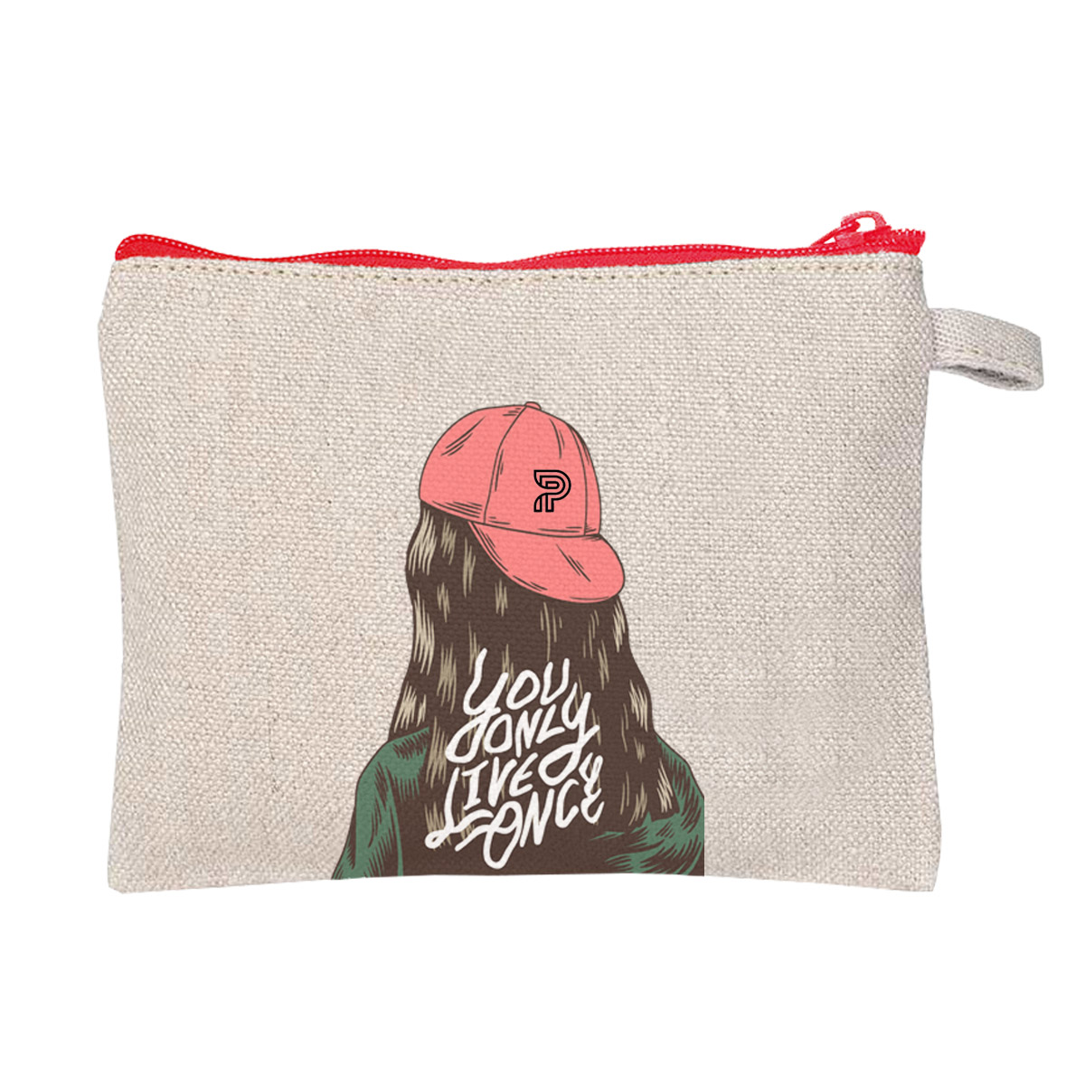 graphic printed hemp cosmetic bag