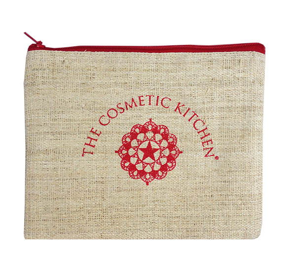 silk screen printed hemp cosmetic bag