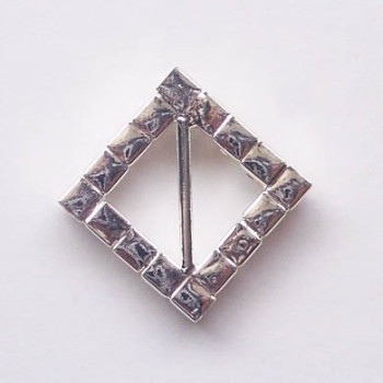 Back with bar of square buckle, silver with stones