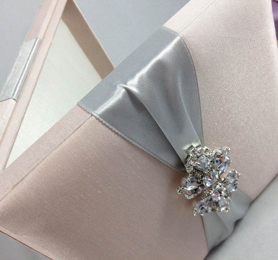 Verona wedding invitation boxed white lace amp pearl brooch w - Square Shaped Luxury Box For Wedding Invitations