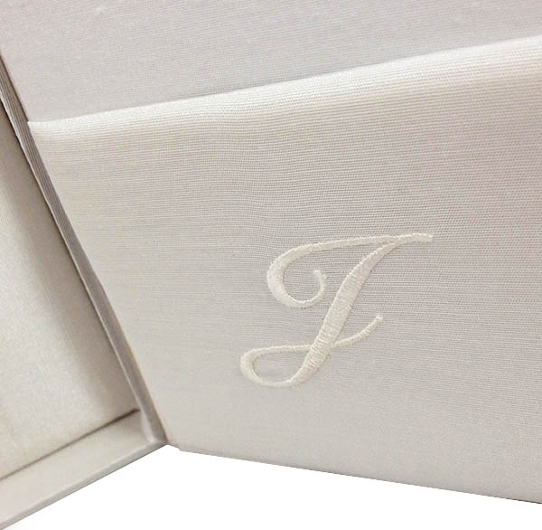 monogram silk wedding box