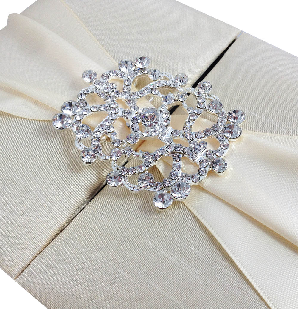 Verona wedding invitation boxed white lace amp pearl brooch w - Gate Fold Wedding Boxes