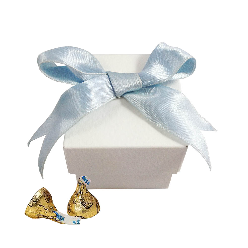 Cute Off White Candy Favour Box With Aqua Blue Bow - Luxury Wedding ...