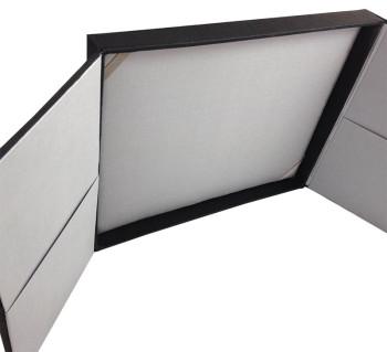 silver and black gatefold box