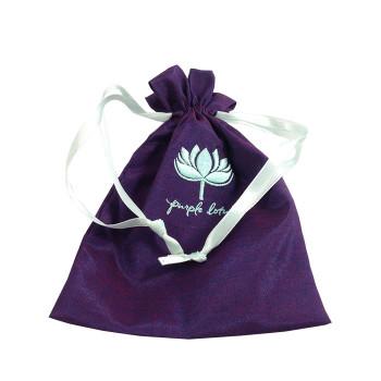Embroidered Silk Drawstring Bag
