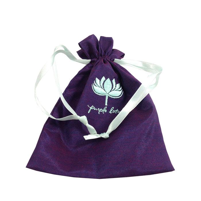 Embroidered Purple Silk Drawstring Bag Luxury Wedding Invitations