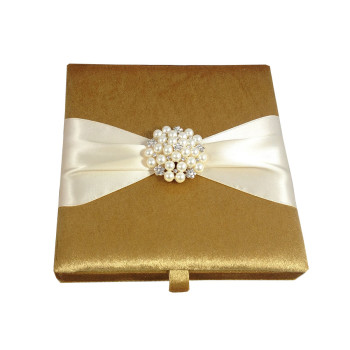Gold Velvet Boxed Wedding Invitations & Pearl Brooch