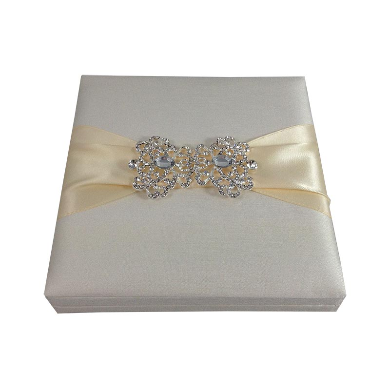 Handmade ivory embellished boxed wedding invitation for Handmade wedding invitations for sale