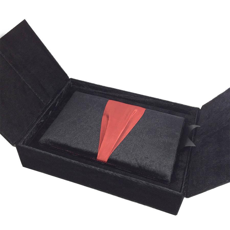 black red premium gift box set velvet luxury wedding invitations