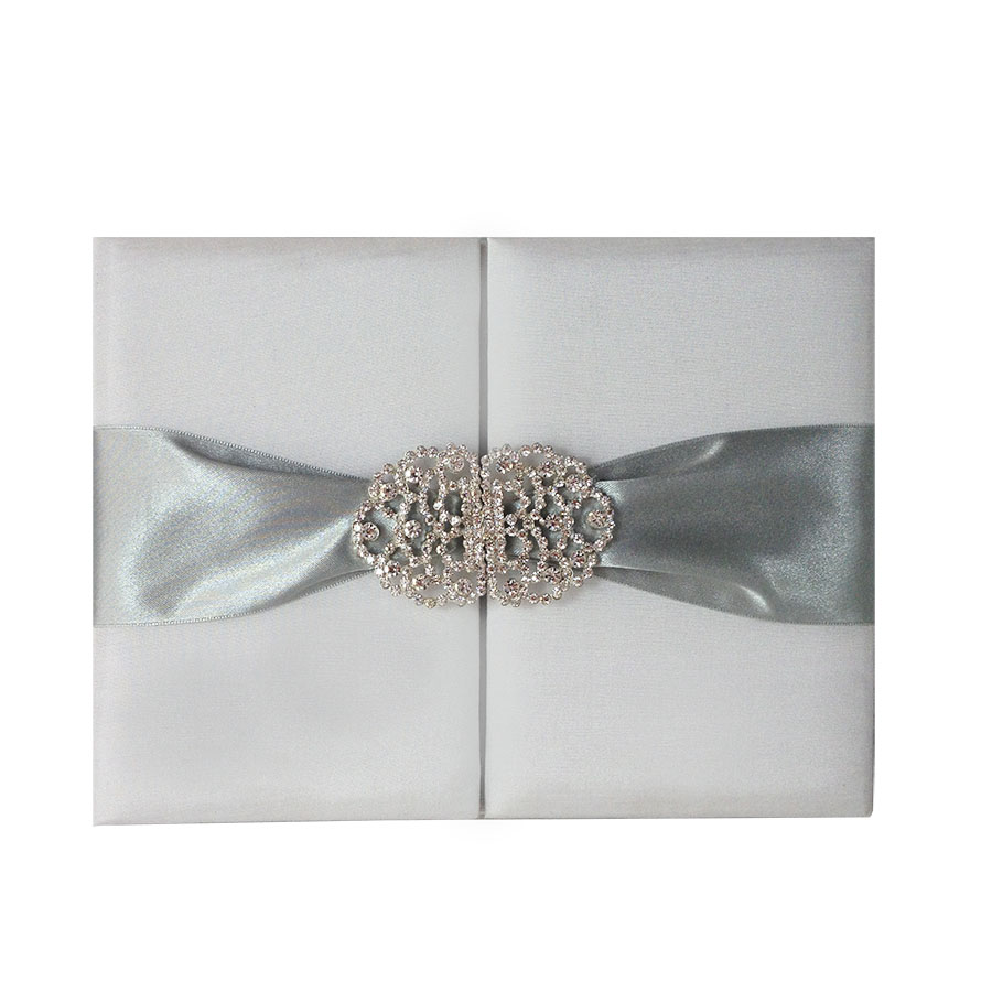 Luxury white wedding invitation folder