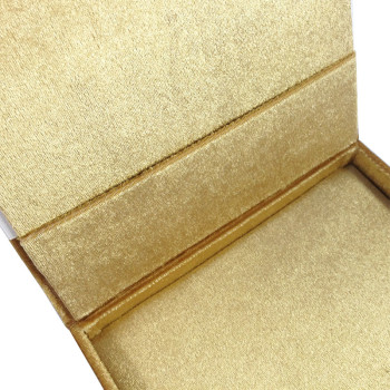 Pocket inside the boxed velvet wedding invitation featuring gold color