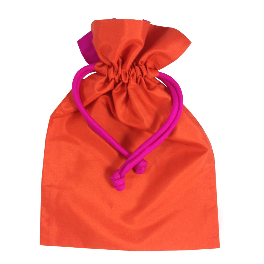 Orange Thai Taffeta Silk Drawstring Gift Bag