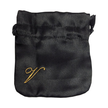Embroidered Black Satin Drawstring Jewellery Bag