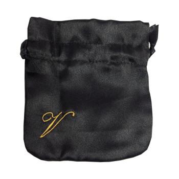 Embroidered Black Satin Drawstring Jewellery Bag