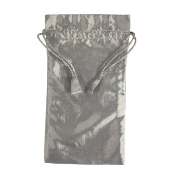 silver taffeta silk drawstring bag