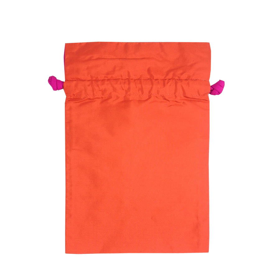 Thai Wedding Gifts: Orange Thai Taffeta Silk Drawstring Gift Bag