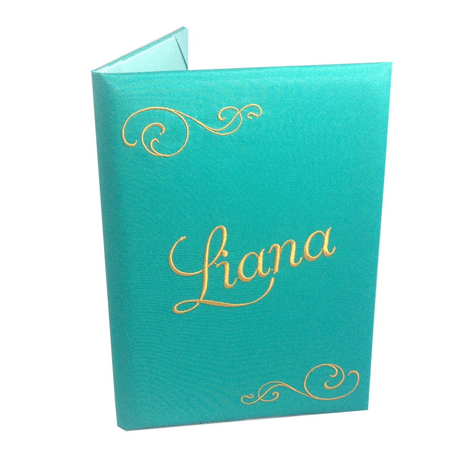 Luxury Pocketfold Wedding Invitations: Monogram Embroidered Wedding Invitation Pocket Folder