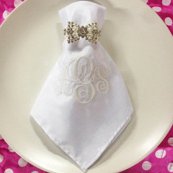 Embroidered Silk Napkin & Rhinestone Napkin Holder
