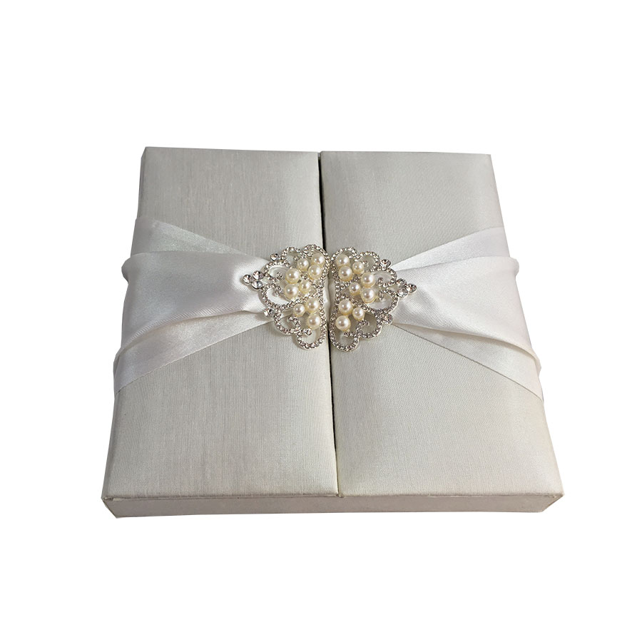 crown pearl brooch embellished ivory wedding box