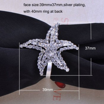 Silver Napkin Holder With Rhinestone Crystal