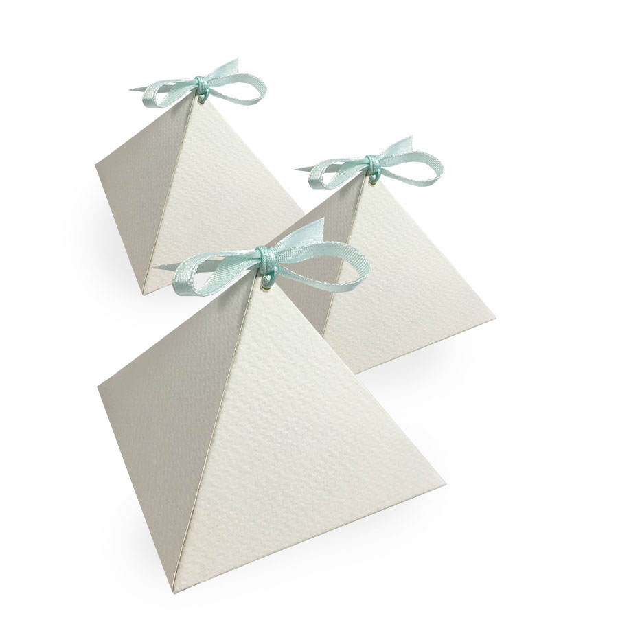 Off-White Pyramid Wedding Favor Box - Luxury Wedding Invitations ...